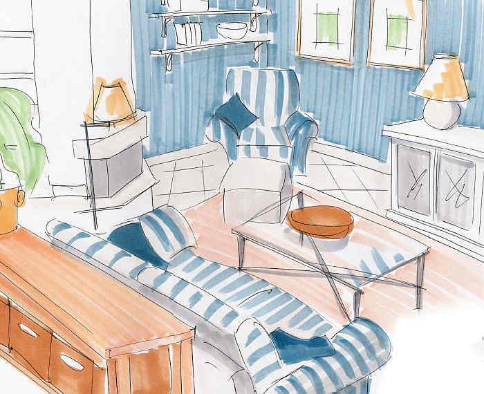 Innenarchitektur - Wohnzimmer 'Skizze